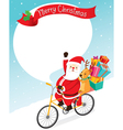 Santa Claus Riding Bicycle With Reindeer vector image vector image