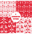 scandinavian seamless folk art hand drawn patterns vector image