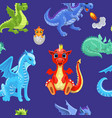 seamless pattern fire dragons or cute dinosaurs vector image vector image