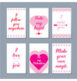 set of six valentine cards vector image vector image