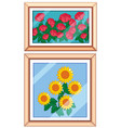 set og beautiful flower frame vector image