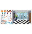 set sick children with hand claning steps vector image vector image