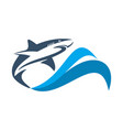 shark on waves sea logo icon vector image