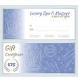 Spa massage gift certificate template vector image vector image