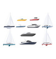speed boat sail-boat and luxury yacht set vector image