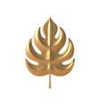 tropical gold 3d leaf template botanical vector image