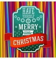 vintage stylized green merry christmas label vector image