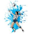 volleyball sport girl and ball cartoon vector image
