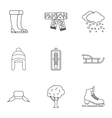 Weather winter icons set outline style vector image vector image