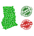 welcome composition of map of ghana and distress vector image vector image