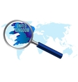 World map with united kingdom magnified by loupe vector image