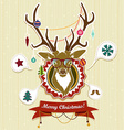 Vintage Christmas card with deer vector image