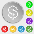 Dollar icon sign Symbol on eight flat buttons vector image