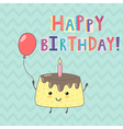 Happy Birthday greeting card with a cute cake vector image