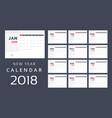 2018 calendar print template vector image