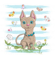 a cute little cat with flowers vector image