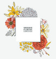 background with summer flowers - dahlia hydrangea vector image vector image