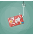 bank card on fishing hook vector image