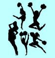 beautiful dancer cheerleader silhouette vector image