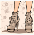 Beautiful woman legs in ankle boot vector image vector image