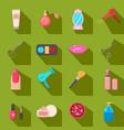 beauty salon set of cartoon icons green vector image vector image