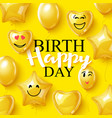 birthday background smiling face helium vector image vector image