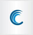 c letter logo water wave blue icon vector image
