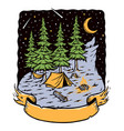 camping in woods at night vector image vector image