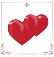 Card for Valentine s Day Two hearts on a white vector image vector image
