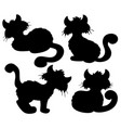 cartoon cat silhouette collection vector image