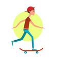 casual boy riding on skateboard banner vector image