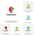 collection nature head science logo head vector image