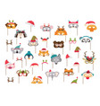 collection of winter animal masks and christmas vector image