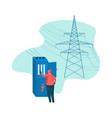 electrical engineer and power high voltage tower vector image
