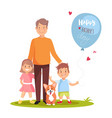 father his son daughter and dog standing on vector image vector image