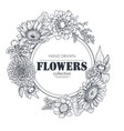 floral backgrounds with hand drawn flowers vector image