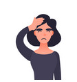 frustrated woman with headache vector image vector image