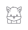 funny hamster line icon concept funny hamster vector image vector image