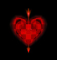 glowing arrow of cupid pierced cellular red heart vector image vector image