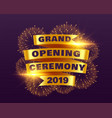 grand opening ceremony banner with golden ribbon vector image vector image