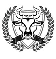 Grunge bull head emblem vector image vector image