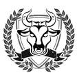 Grunge bull head emblem vector image