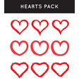 grungy hand draw hearts valentines day symbol vector image vector image