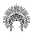 Hand Drawn Feathered War bonnet in zentangle style vector image vector image