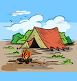 hiking camping outdoor recreation concept with vector image