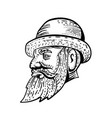 hipster wearing bowler hat etching black and white vector image vector image