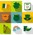 irish holiday patrick icon set flat style vector image vector image