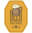 label for beer in retro style with wooden beer mug vector image vector image