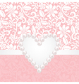 lace background withpearl heart vector image vector image