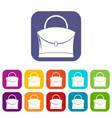 little woman bag icons set flat vector image vector image